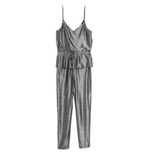 103. shiny silver jumpsuit with frill detail